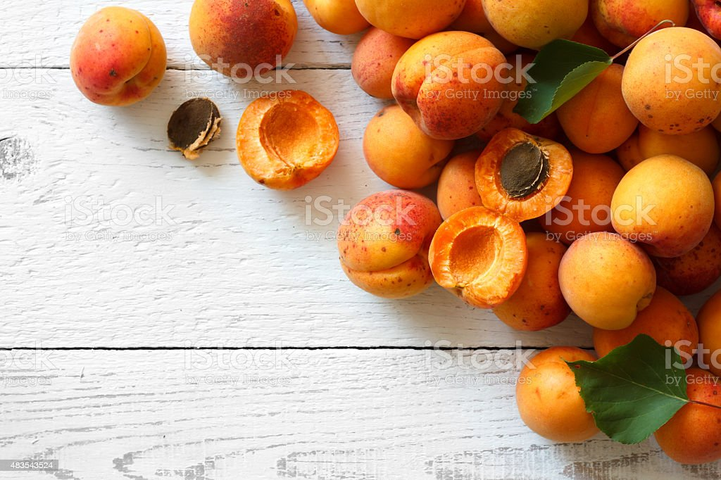 Whole orange apricots with red blush. stock photo