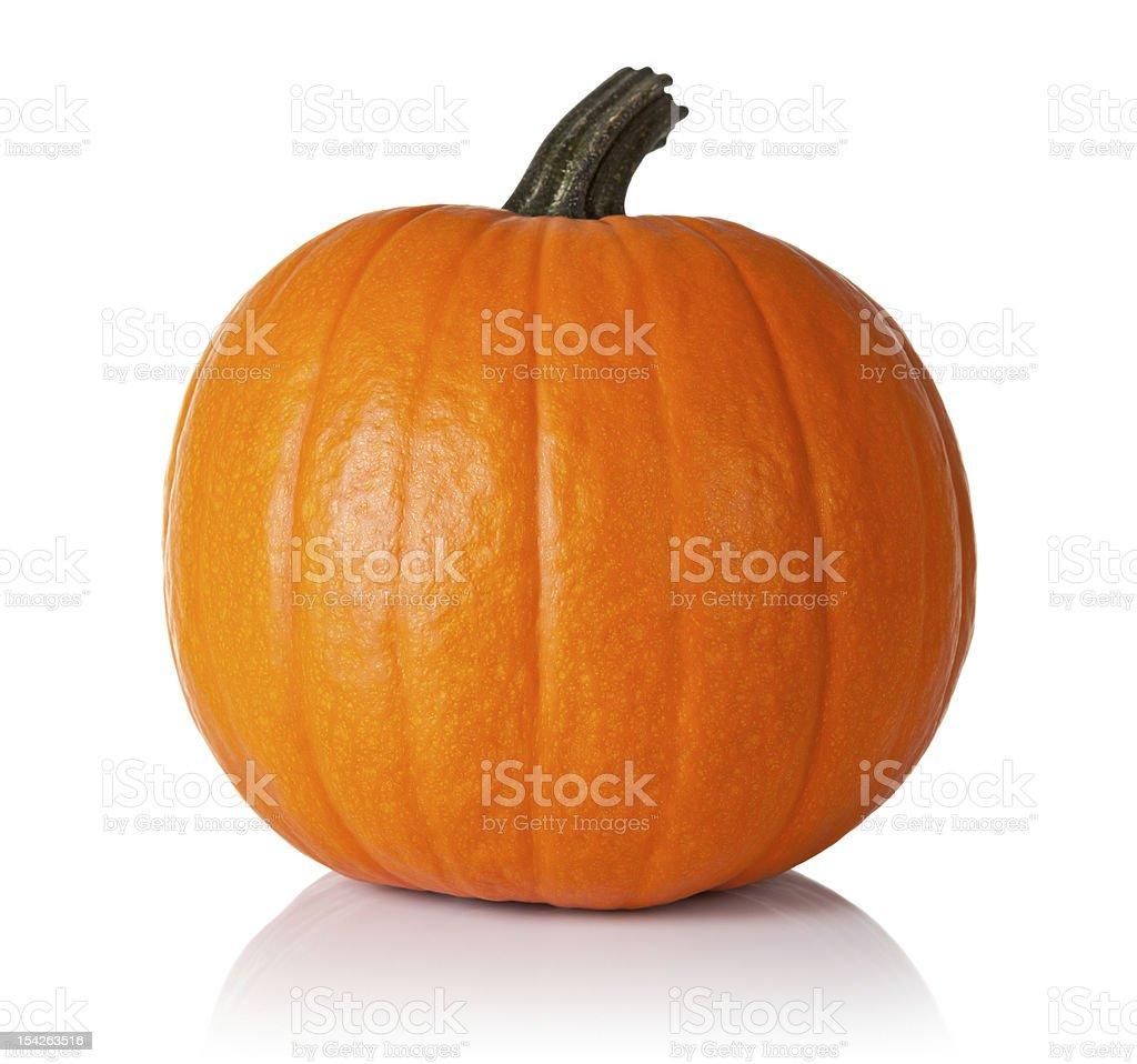 Whole orange pumpkin with green stalk stock photo