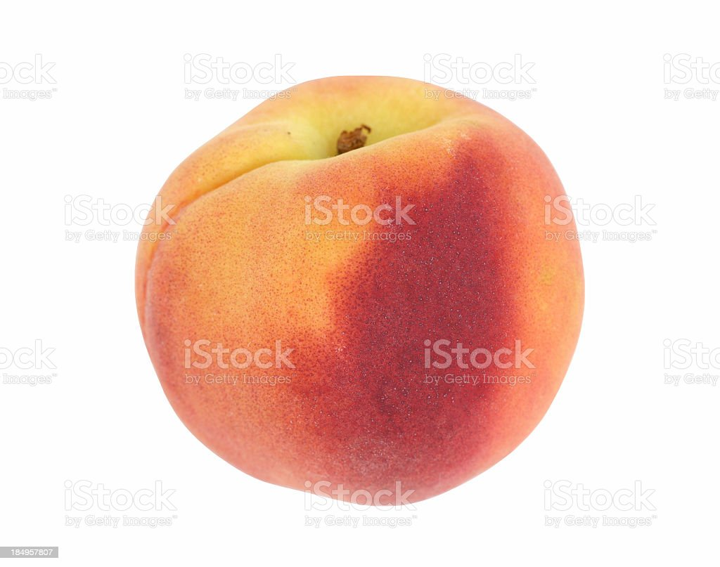 Whole peach isolated on a white background stock photo