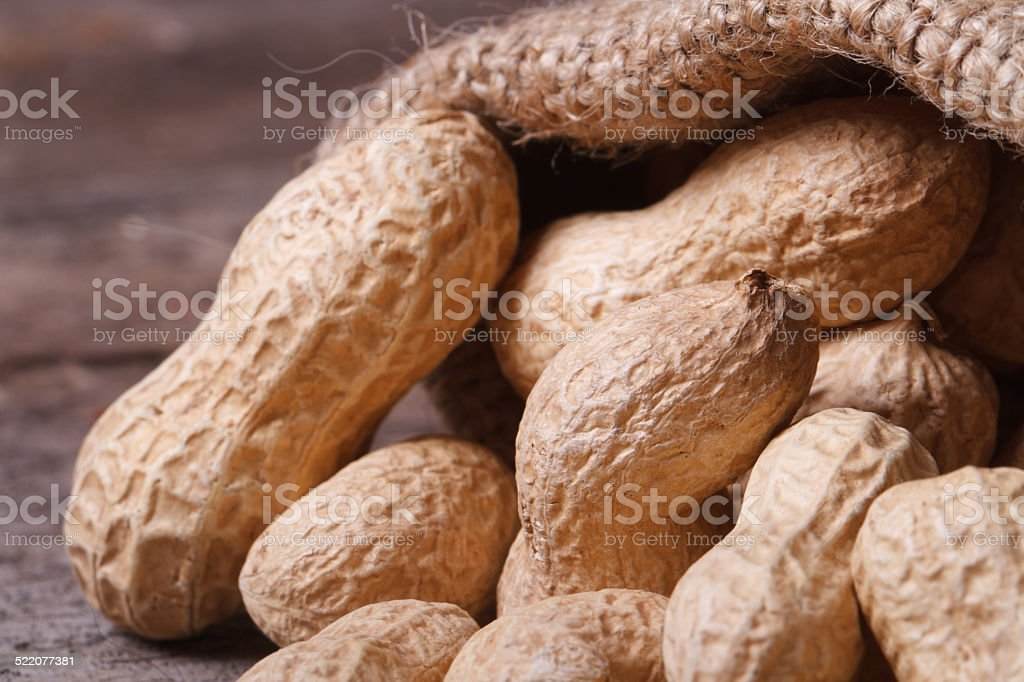 whole peanuts in the shell on a sack. Macro stock photo