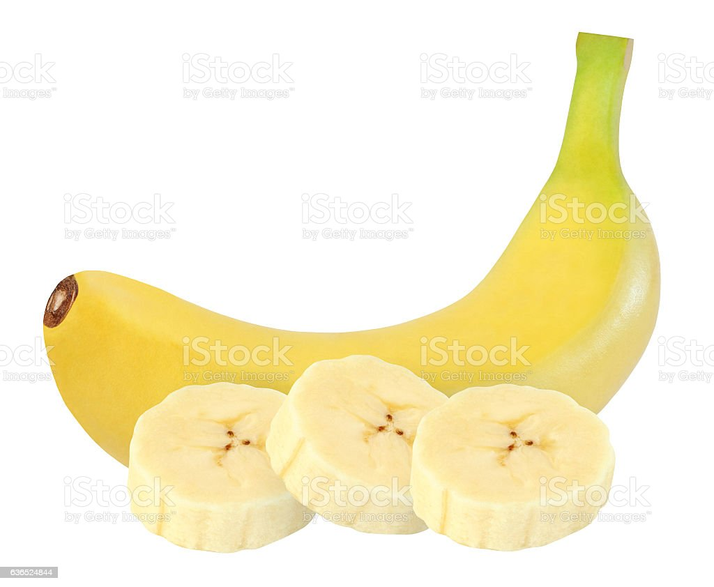 whole, peeled banana isolated on white background with clipping path stock photo