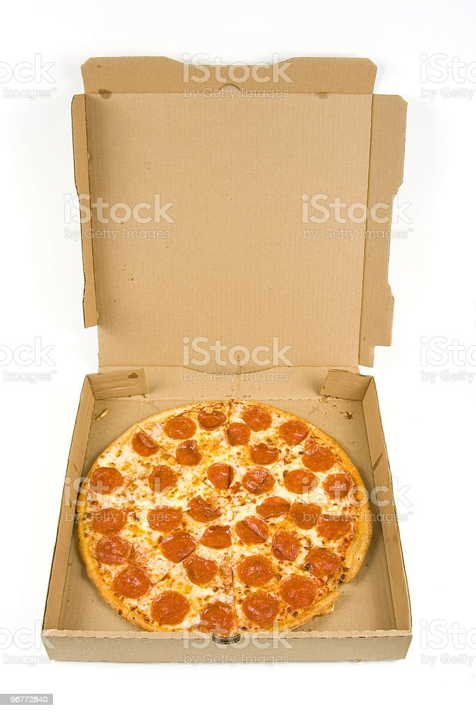 whole pepperoni pizza in a box royalty-free stock photo