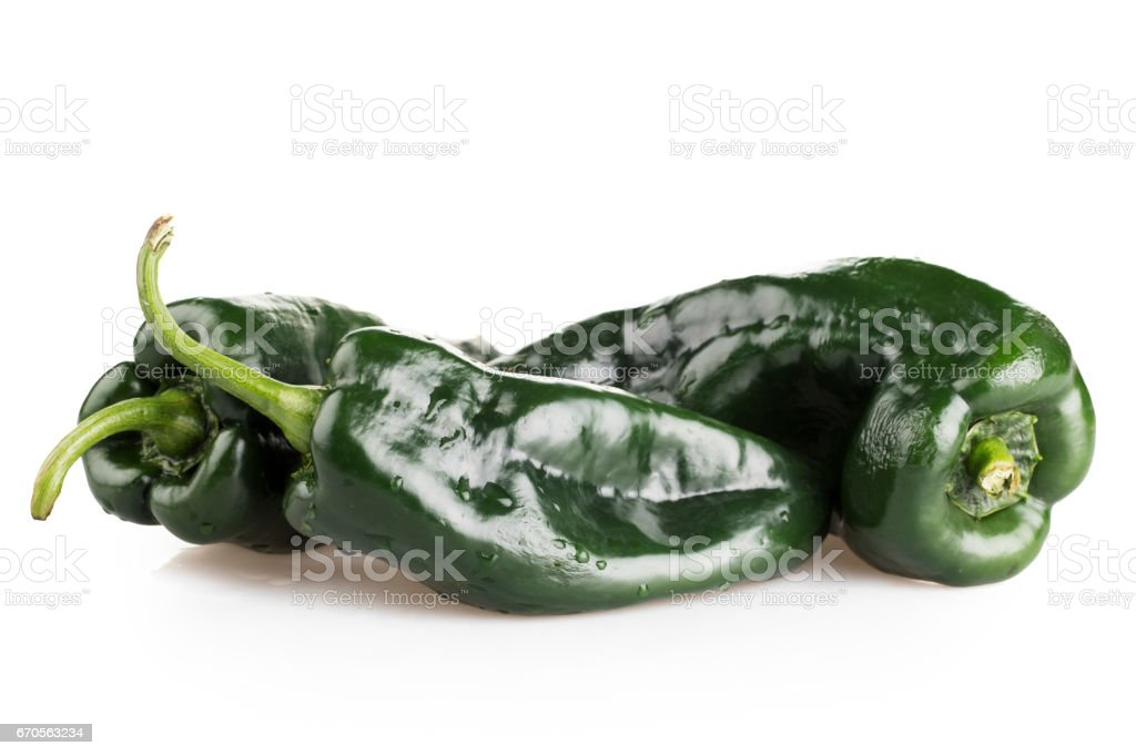 Whole Poblano Peppers stock photo