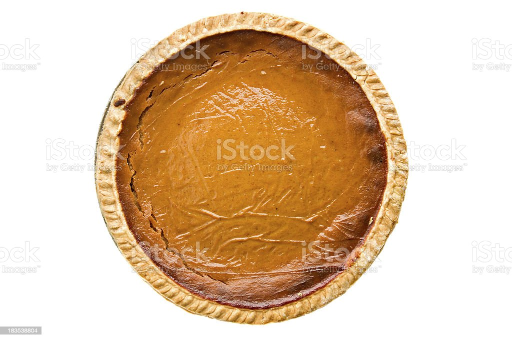 Whole Pumpkin Pie Overhead Isolated stock photo