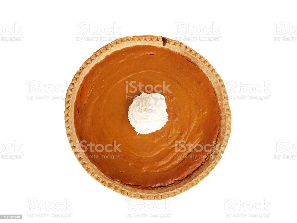 Whole Pumpkin Pie with Whipped Cream stock photo
