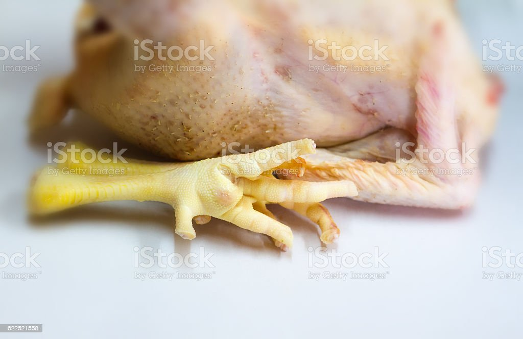 Whole Raw Organic Chicken, with Chicken Feet in Foreground (Close-Up) stock photo