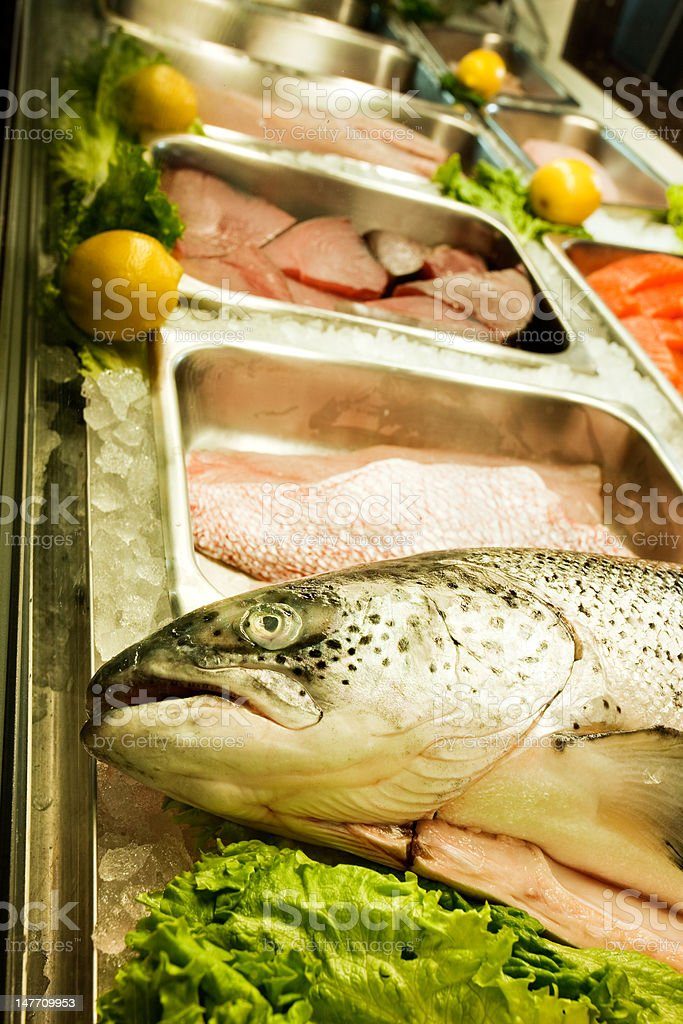 Whole Red Snapper in a refrigerated fish market case royalty-free stock photo