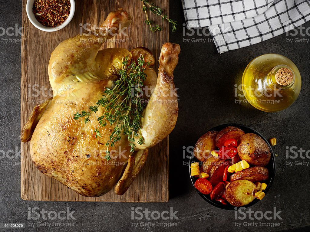 whole roasted chicken stock photo