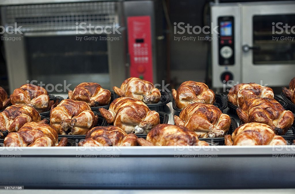 whole roasted chickens stock photo