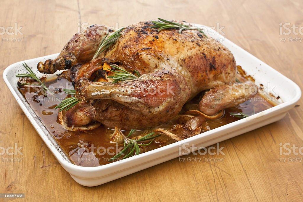 whole roasted stuffed turkey (chicken ) royalty-free stock photo