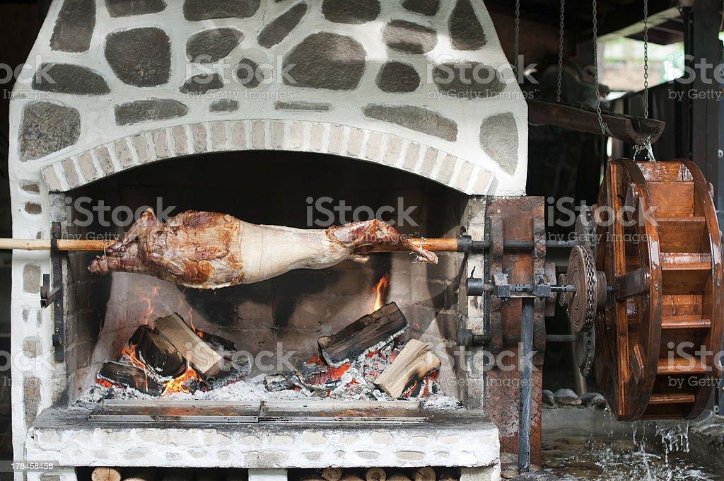 Whole roastet lamb royalty-free stock photo