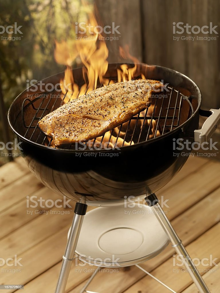 Whole Salmon Fillet on an outdoor BBQ royalty-free stock photo