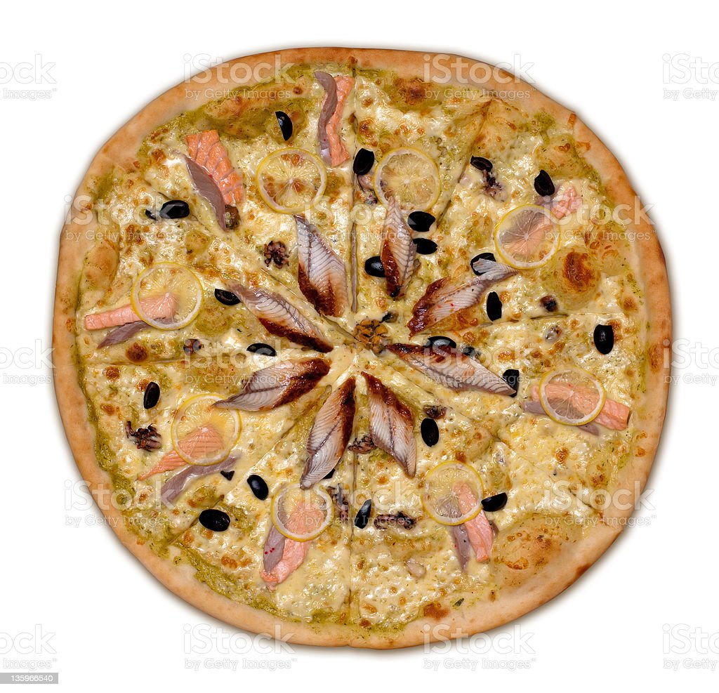Whole seafood pizza royalty-free stock photo