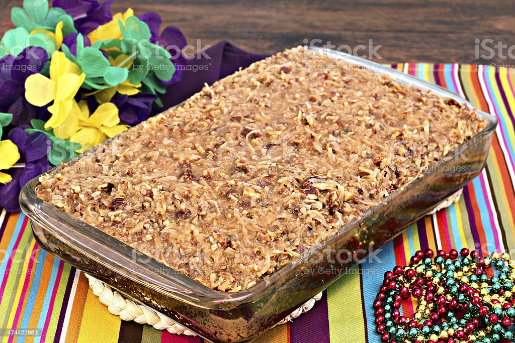 Whole sheetcake of a cajun cake with praline topping. stock photo