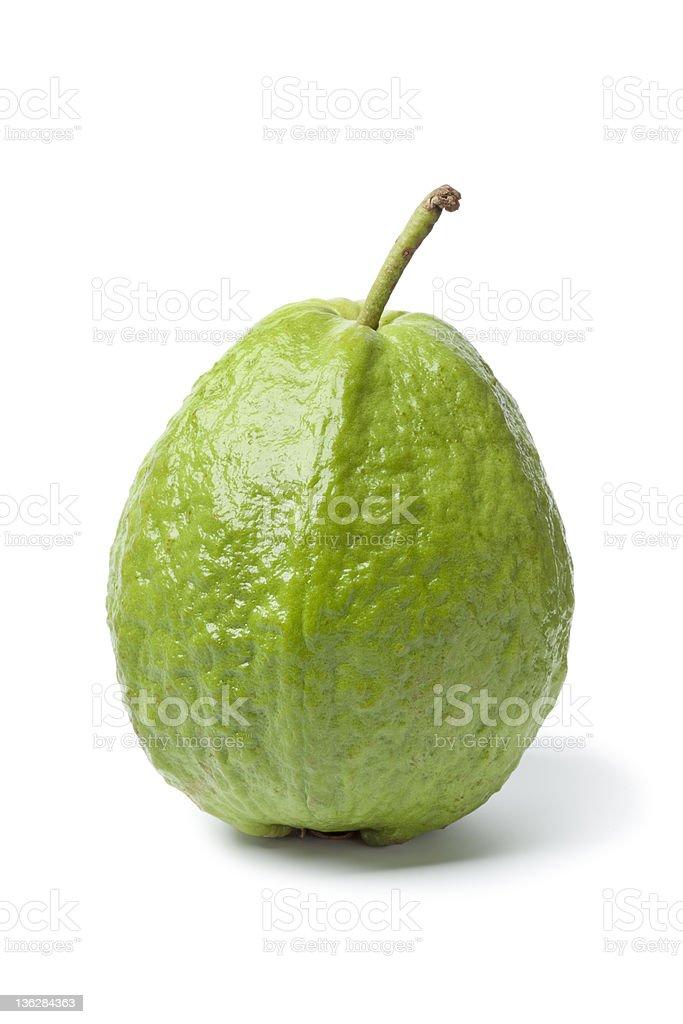 Whole sinfgle fresh guava stock photo