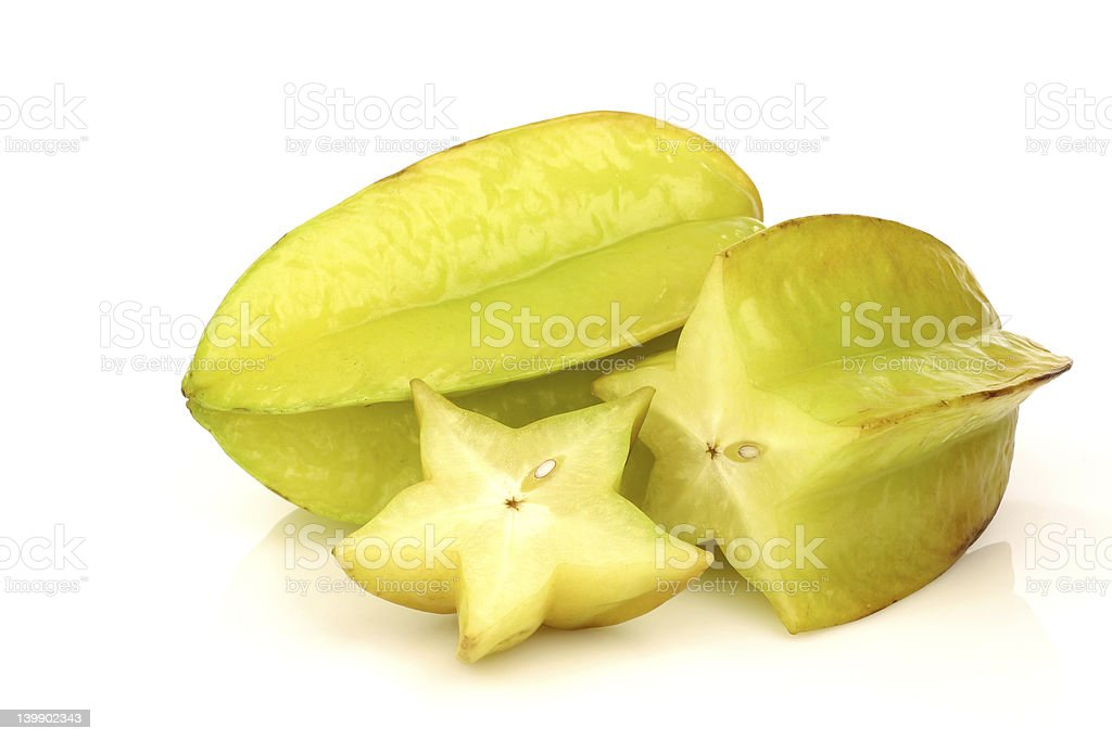 whole starfruit  (Averrhoa carambola) stock photo