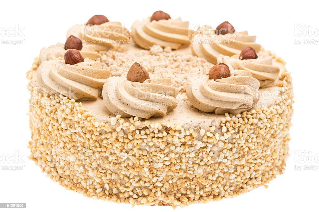 whole walnut cake isolated on white background stock photo