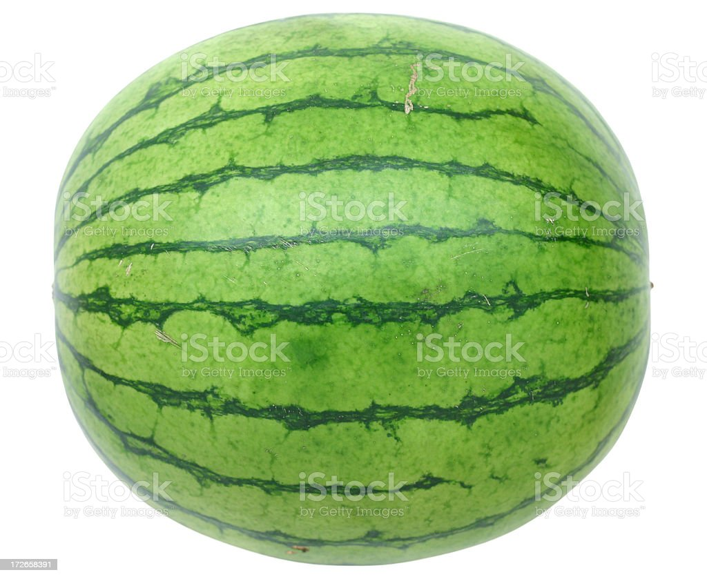 Whole watermelon on white background stock photo