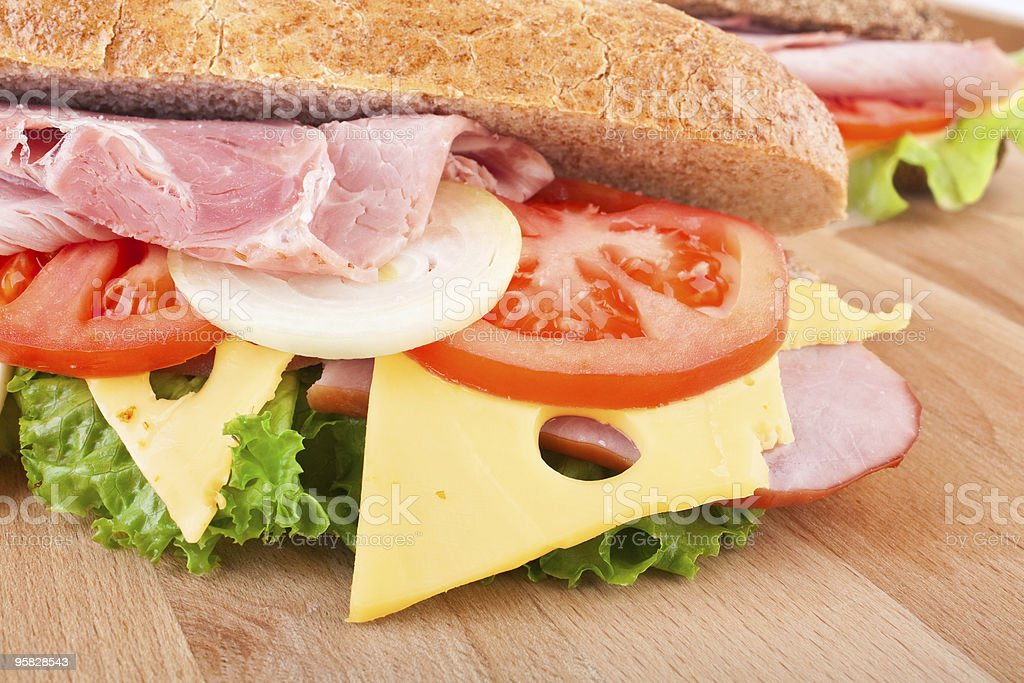 whole wheat baguette sandwiches royalty-free stock photo