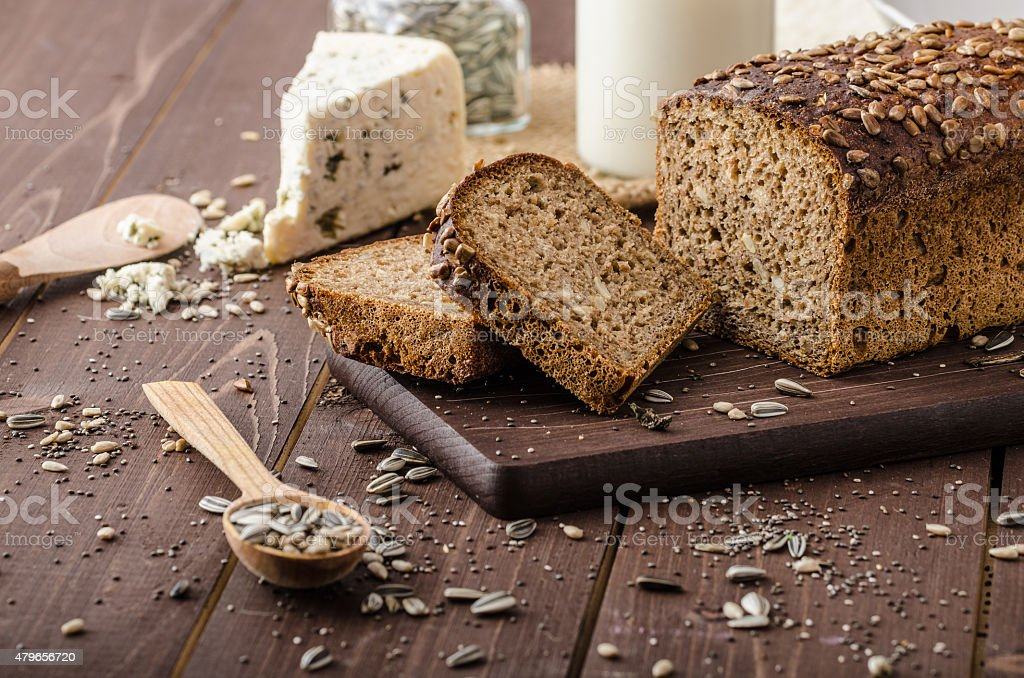 Whole wheat bread baked at home stock photo