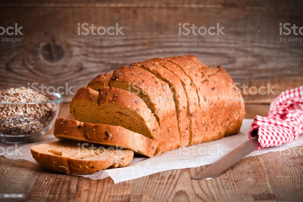 Whole wheat bread. stock photo