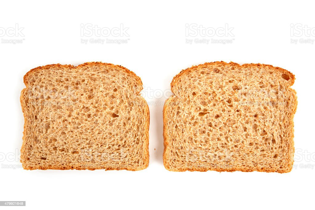 Whole Wheat Bread Slices Isolated stock photo