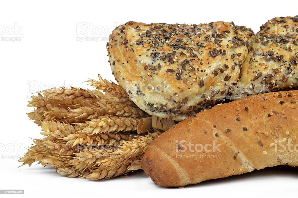 Whole wheat bread with bun royalty-free stock photo