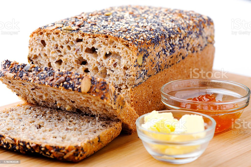 Whole wheat bread with condiments royalty-free stock photo
