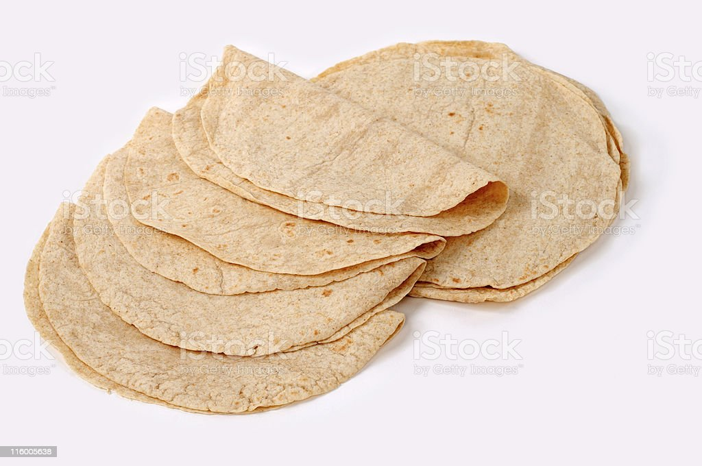 Whole wheat flour mexican tortillas stock photo