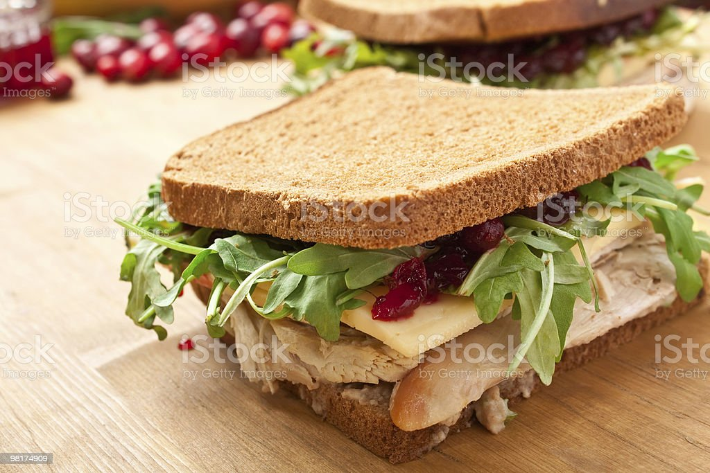 Whole wheat healthy turkey sandwich stock photo