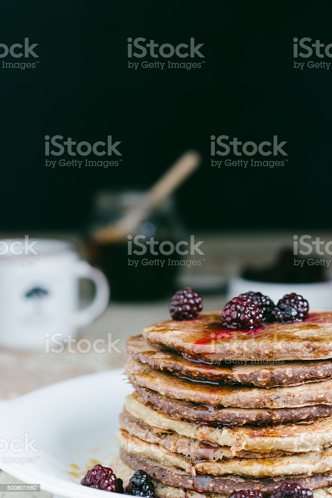 Whole wheat oatmeal pancakes royalty-free stock photo