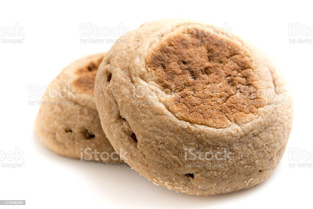 Whole Wheat Organic English Muffins stock photo