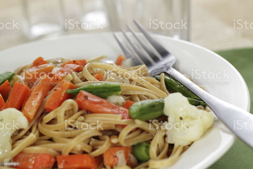 Whole Wheat Pasta primavera stock photo