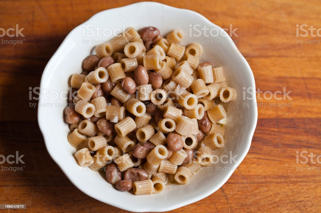 Whole Wheat Pasta with Beans stock photo