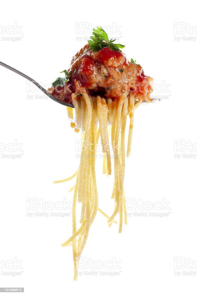 Whole wheat spaghetti and meatballs stock photo