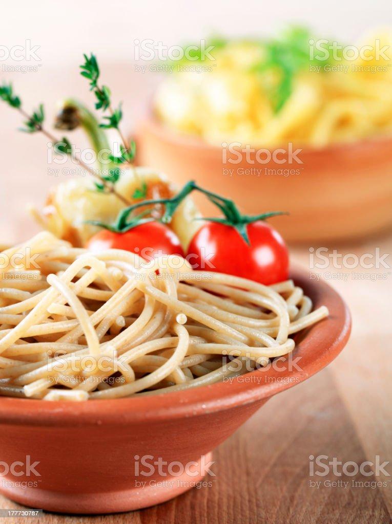 Whole wheat spaghetti royalty-free stock photo
