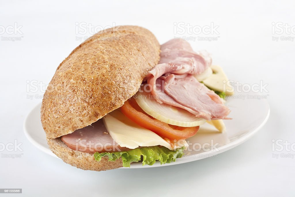 whole wheat stuffed sandwich royalty-free stock photo
