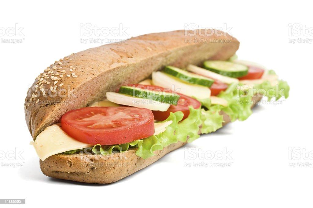 whole wheat vegetarian baguette sandwich royalty-free stock photo