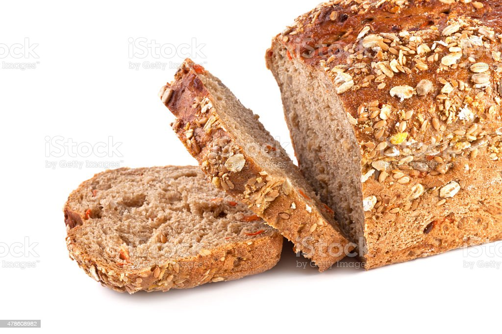 Wholegrain and Carrot Bread isolated on white background stock photo