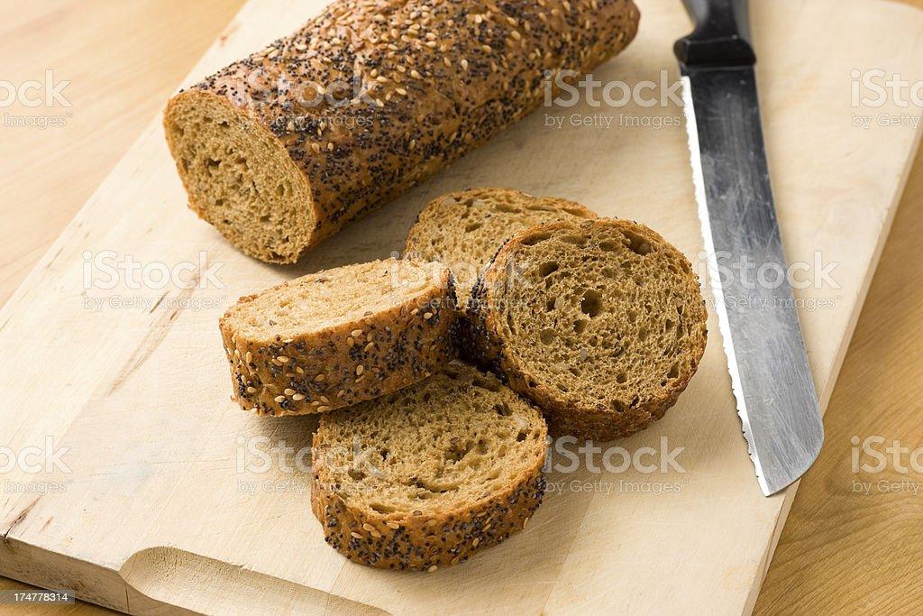 Wholegrain baguette stock photo