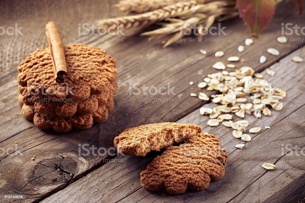 Wholegrain Biscuit Cookies stock photo