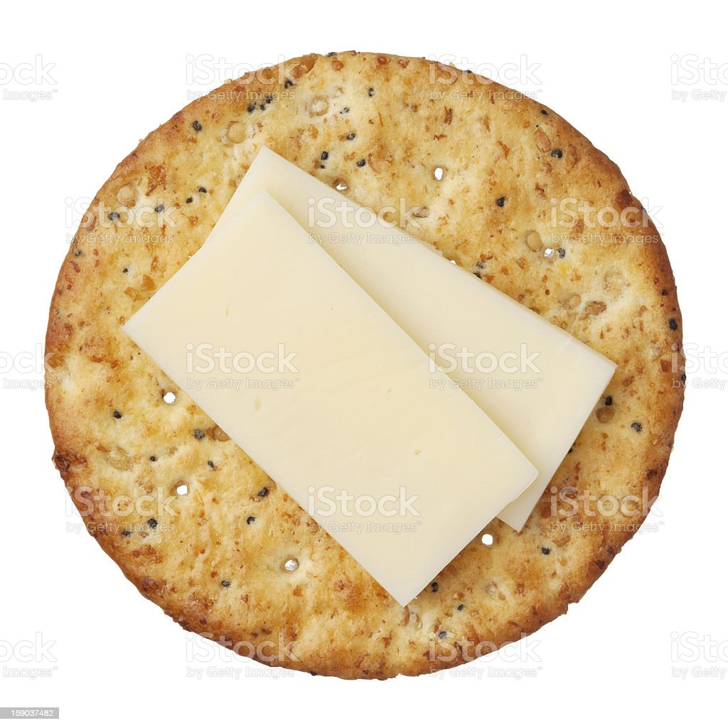 Wholegrain cracker and cheese, isolated on white background, close-up. stock photo