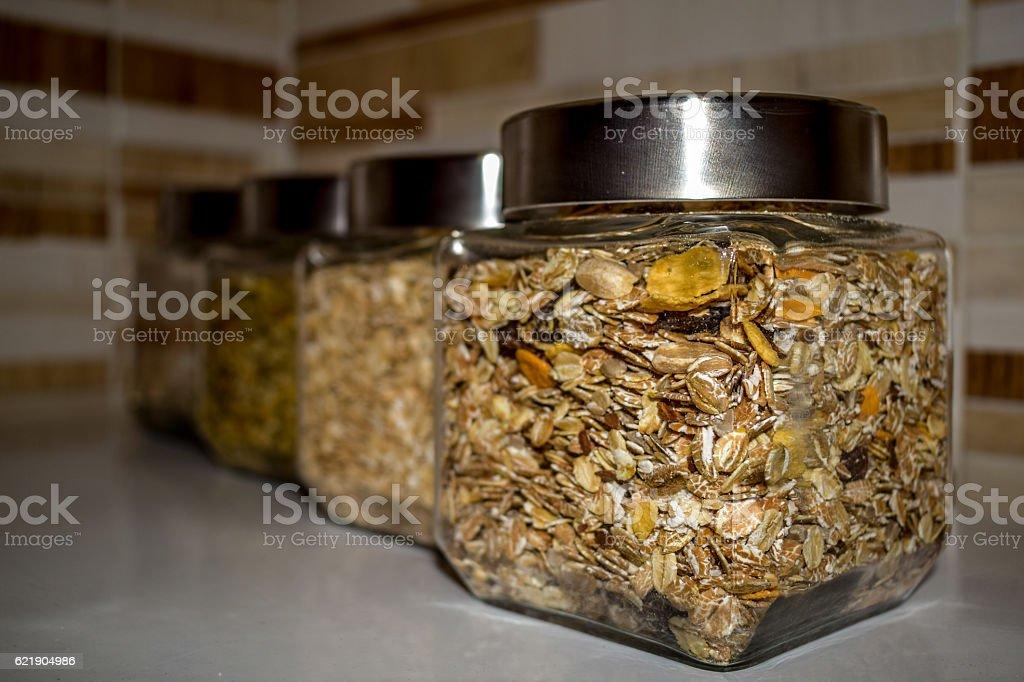Wholegrain jars royalty-free stock photo