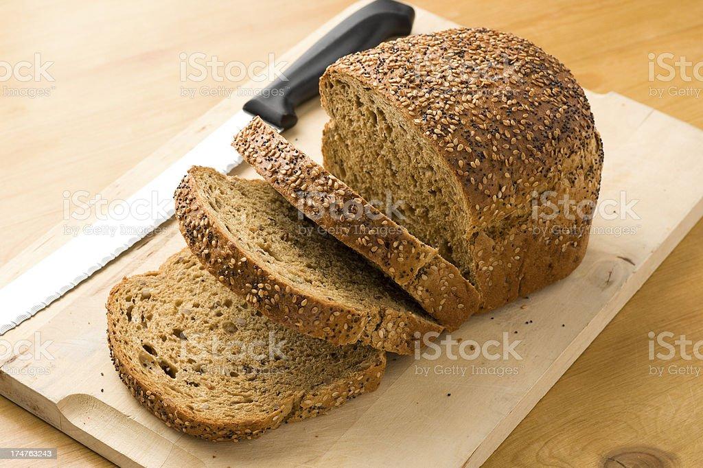 Wholegrain multi seeded bread stock photo