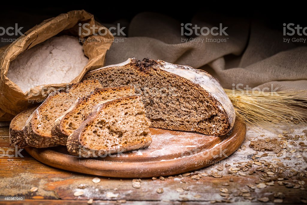 Wholegrain rye bread stock photo