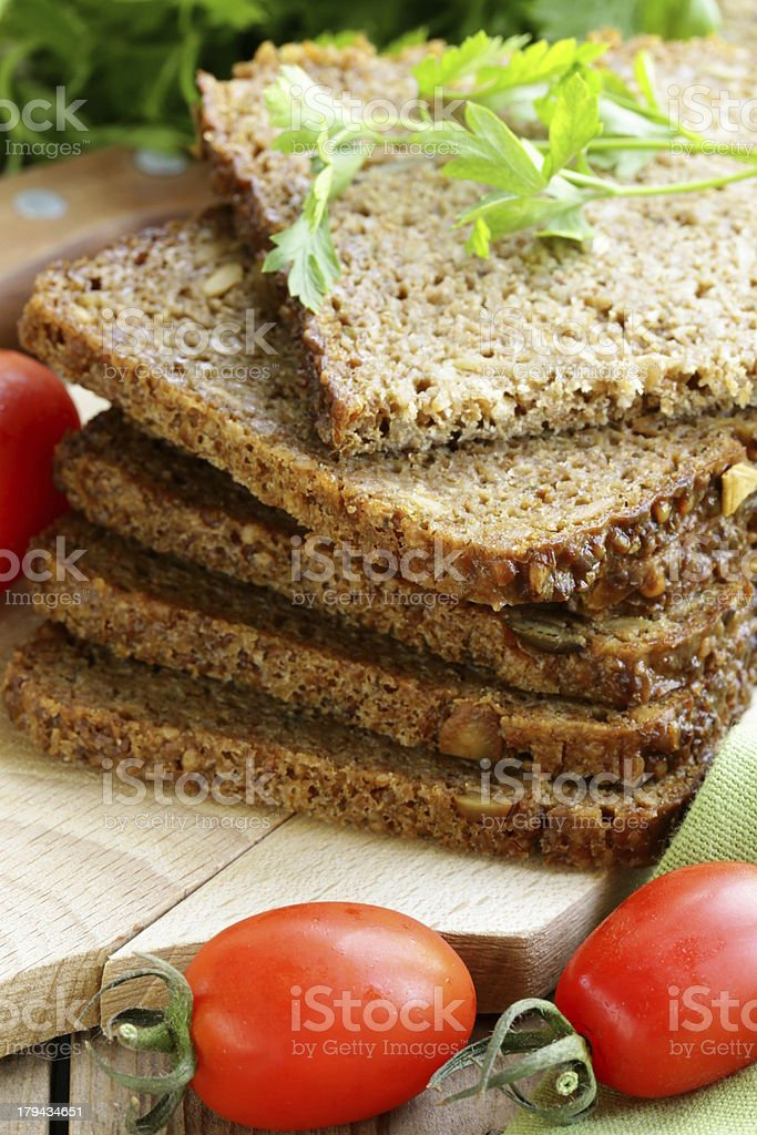 wholegrain rye bread with bran and seeds royalty-free stock photo