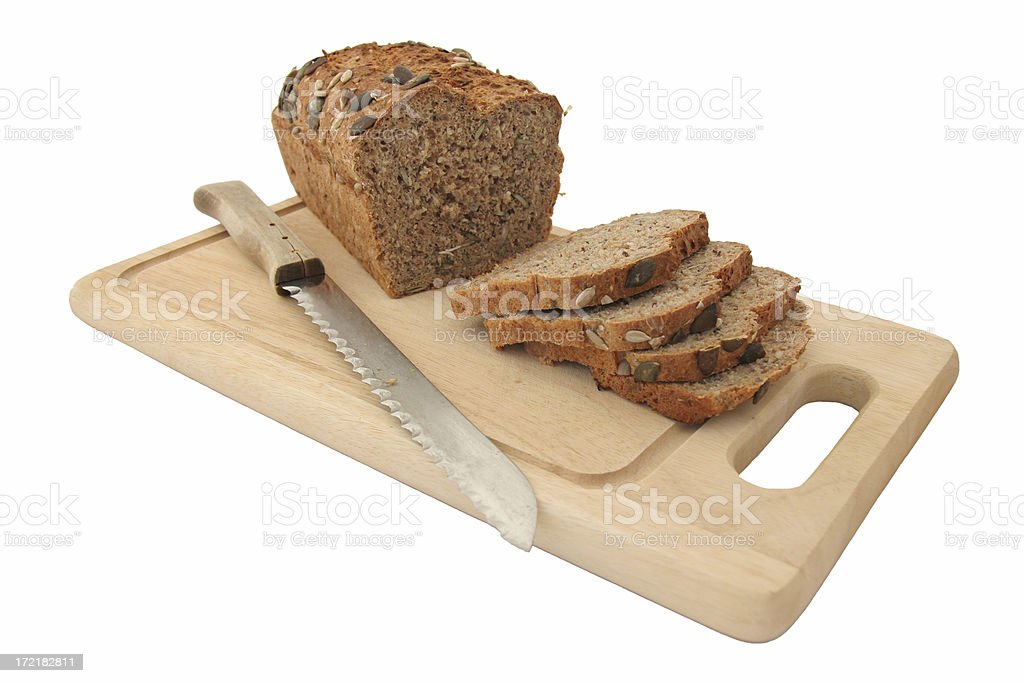 Wholemeal bread home made isolated stock photo