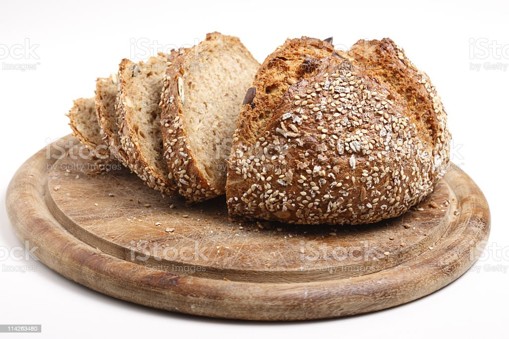 Wholemeal Bread in slices stock photo