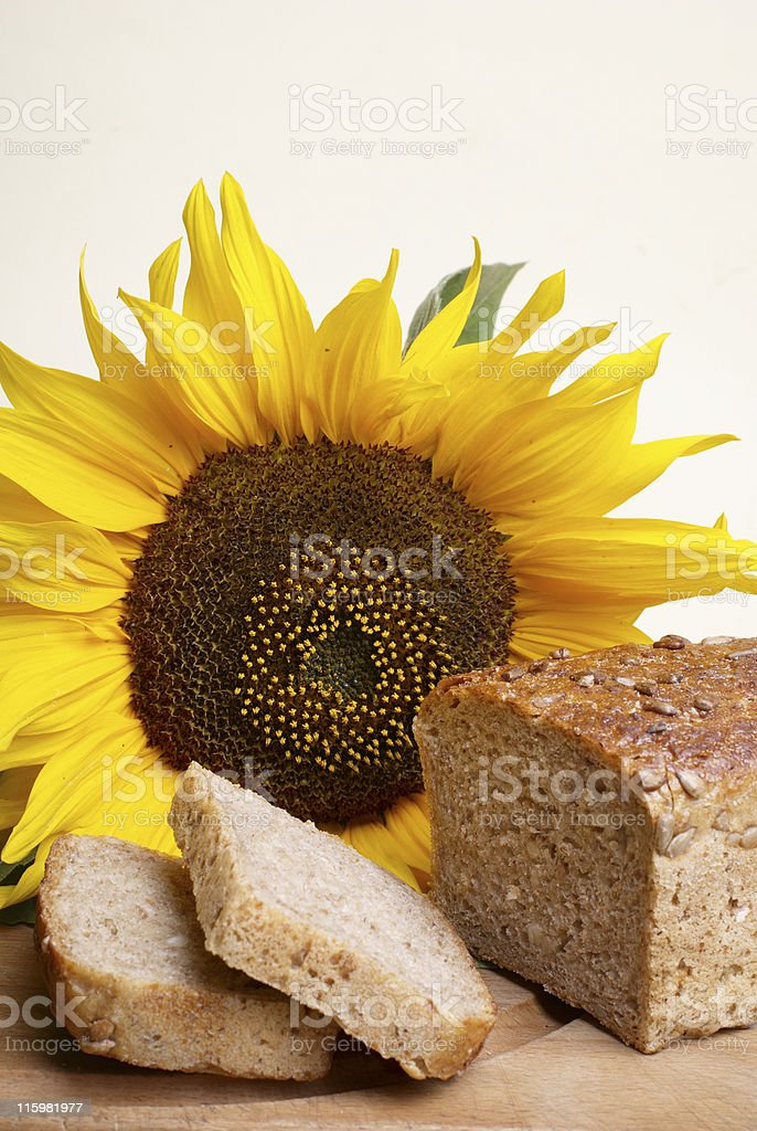 Wholemeal bread with sunflower royalty-free stock photo