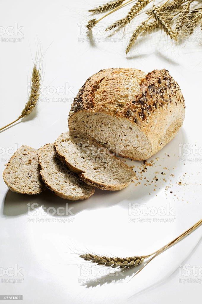 Wholemeal bread\tnto slice royalty-free stock photo